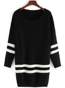 Black Scoop Neck Color Blcok Trims Sweater