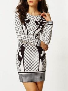 White Black Plaid Abstract Print Sheath Dress