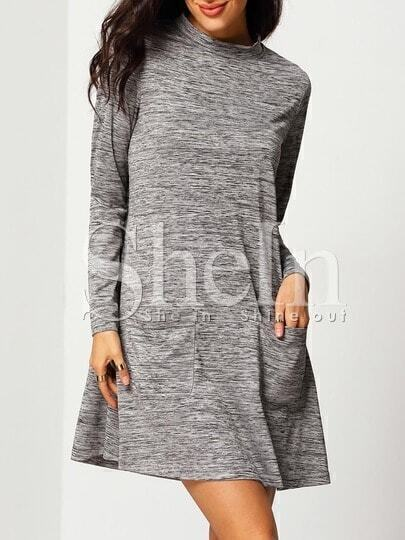Grey Mock Neck Pockets Dress