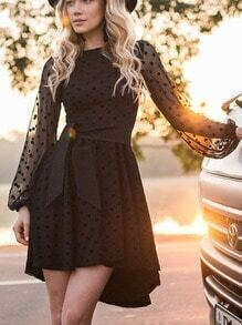 Black Mesh Sleeve Polka Dot Dip Hem Dress