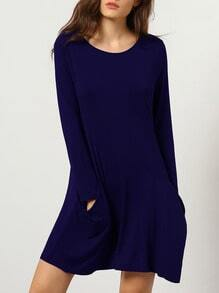 Navy Round Neck Pockets Simple Tshirt Dress