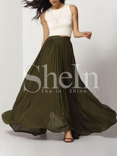 Pleated Full Length Skirt -SheIn(Sheinside)