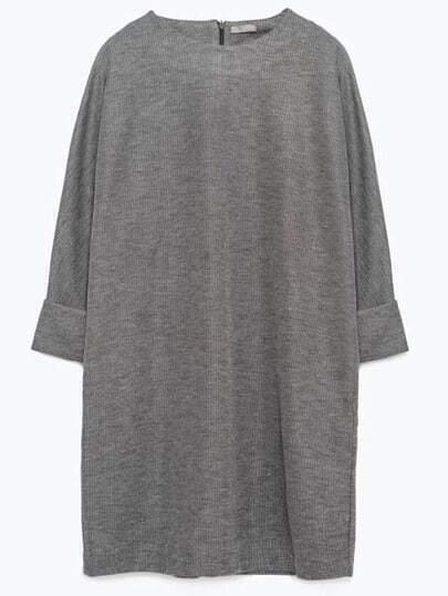 Grey Round Neck Straight Loose Dress