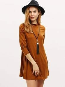 Khaki Stand Collar Long Sleeve Loose Dress