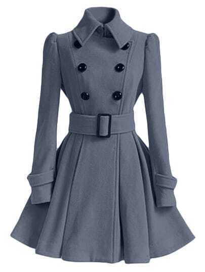 Grey Lapel Double Breasted Belt Coat