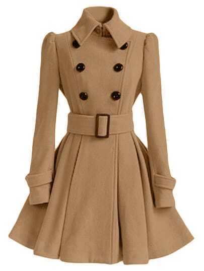 Khaki Lapel Double Breasted Belt Coat