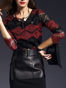 Red Black V Neck Lace Blouse