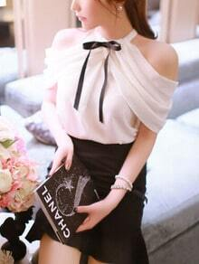 White Bow Collar Off the Shoulder Blouse