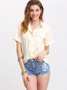 White Lapel Short Sleeve Pocket Blouse