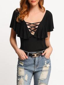 Black V Neck Lace Up Backless Ruffle Top