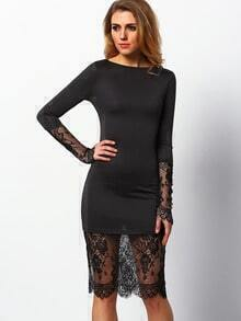 Black Round Neck Sheer Lace Slim Dress