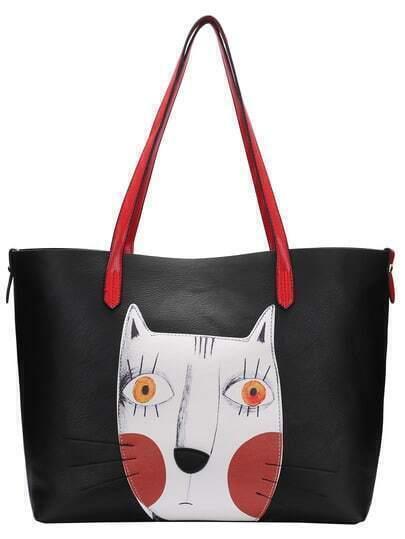 Cat Pattern Oversized Two Pieces Shoulder Bag