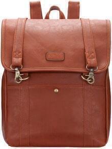 Brown Buckle PU Backpacks