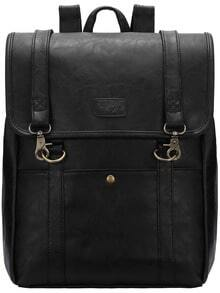 Black Buckle PU Backpacks -SheIn(Sheinside)