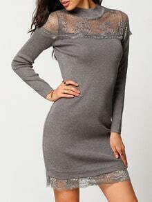 Grey Mock Neck Sheer Lace Slim Dress