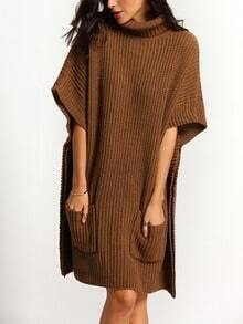 Khaki High Neck Pockets Loose Sweater Dress