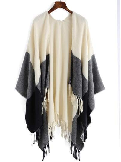 Colour-block Tassel Loose Cape
