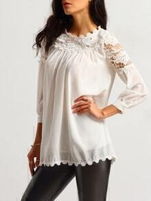 White Lace Floral Crochet Chiffon Blouse