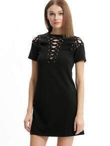 Black Lace Up Neck And Sholder Shift Dress