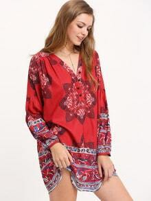 Red Tribal Print Blouson Sleeve Tunic Dress