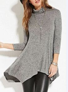 Grey High Neck Asymmetric T-shirt Dress