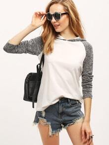 Beige Hooded Contrast Raglan Sleeve T-Shirt