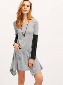 Grey Contrast PU Leather Sleeve Pockets Asymmetric Dress