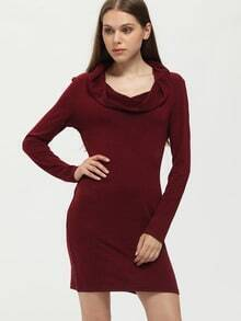 Burgundy Hooded Draped Front Dress