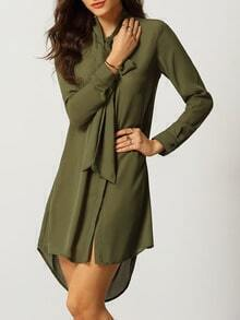 Army Green Tie Neck Dip Hem Shirt Dress