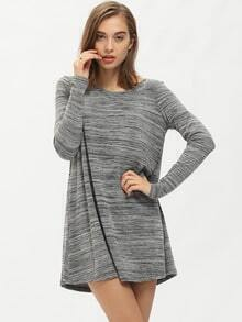 Grey Round Neck Cut Out Back Dress