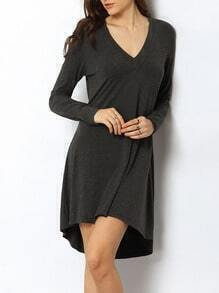 Grey V Neck Dip Hem T-shirt Dress