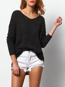 Grey V Neck Side Slit Sweater
