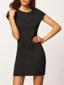 Black Round Neck Cap Sleeve Slim Dress