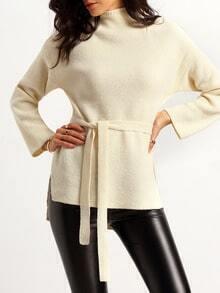 Jersey cuello mock asimétrico -blanco