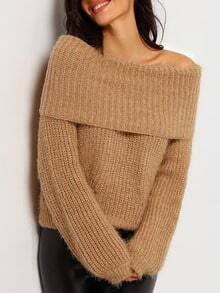 Khaki Boat Neck Long Sleeve Crop Sweater