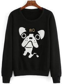 Black Round Neck Dog Pattern Sweatshirt
