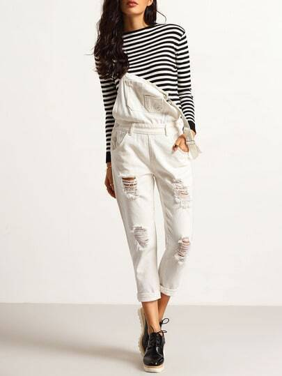 White Strap Ripped Denim Jumpsuit