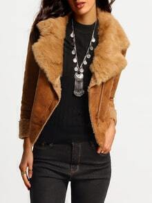 Khaki Faux Fur Lapel Zipper Crop Jacket