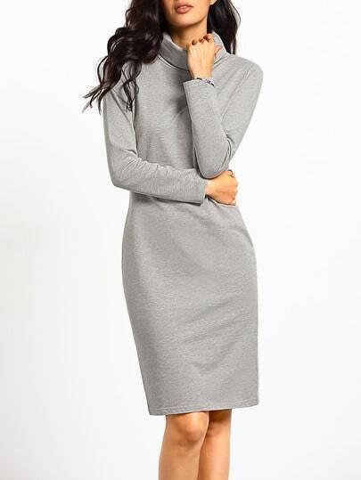 Grey Turtleneck Casual Tshirt Dress