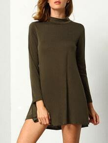 Army Green Mock Neck Shift Tshirt Dress
