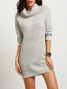 Grey Turtleneck Women Basic Sweater Dress