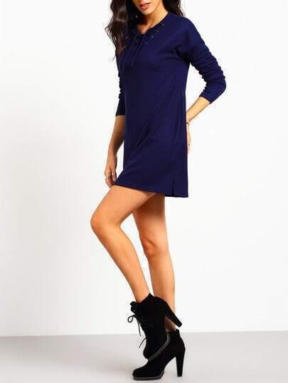 Royal Blue Lace Up Split Side Tshirt Dress