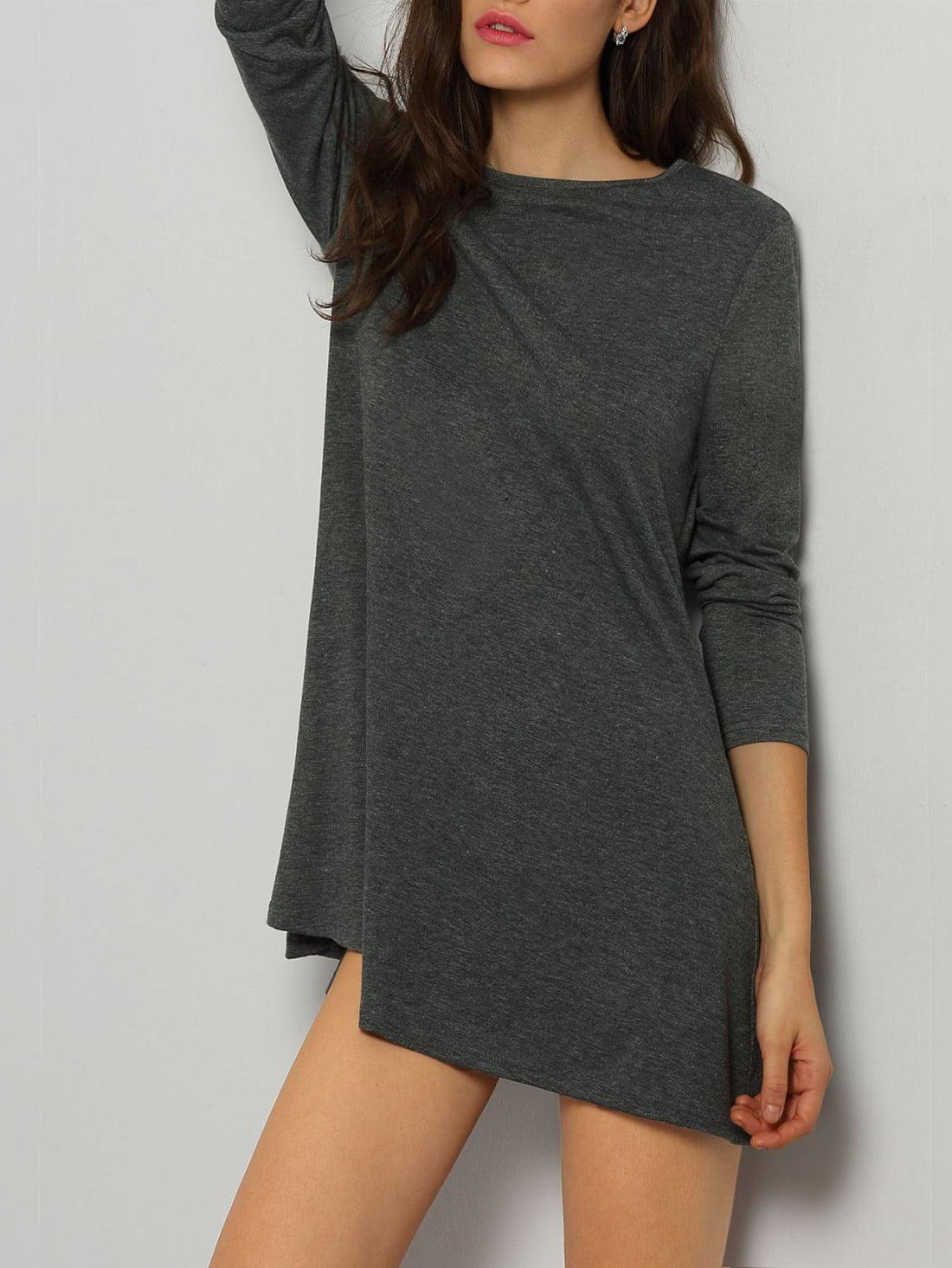 Фото Grey Crew Neck Casual Tshirt Dress. Купить с доставкой