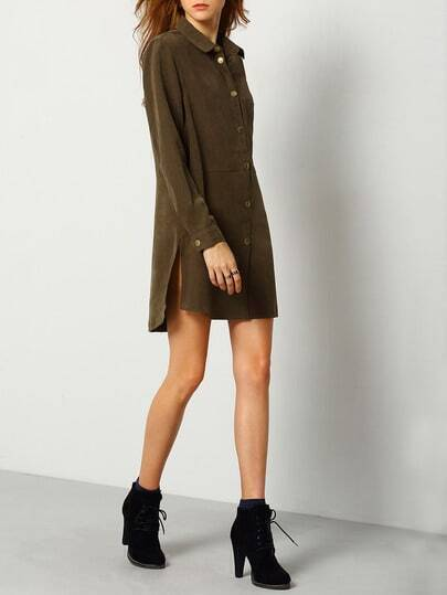 Army Green Lapel Split Side Shirt Dress With Pockets
