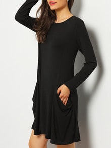Black Trapeze Casual Tshirt Dress