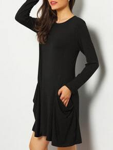 Black Trapeze Casual Tshirt Dress