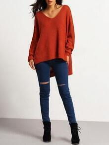Orange Deep V Neck Dip Hem Split Side Sweater