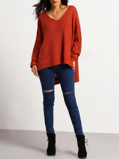 Orange Deep V Neck Dip Hem Split Side Sweater