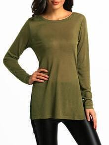 Army Green Long Sleeve Split Side Casual T-Shirt
