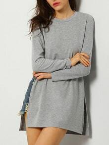 Grey Long Sleeve Split Side Casual T-Shirt